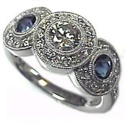 #3s309 1/2ct Diamond 1/3ct sapphire