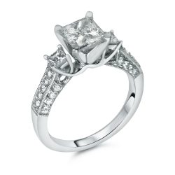 Three Stone Princess Cut with Pave