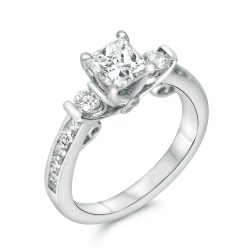 antique style three princess cut engagement ring