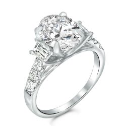 oval and trapezoid engagement ring
