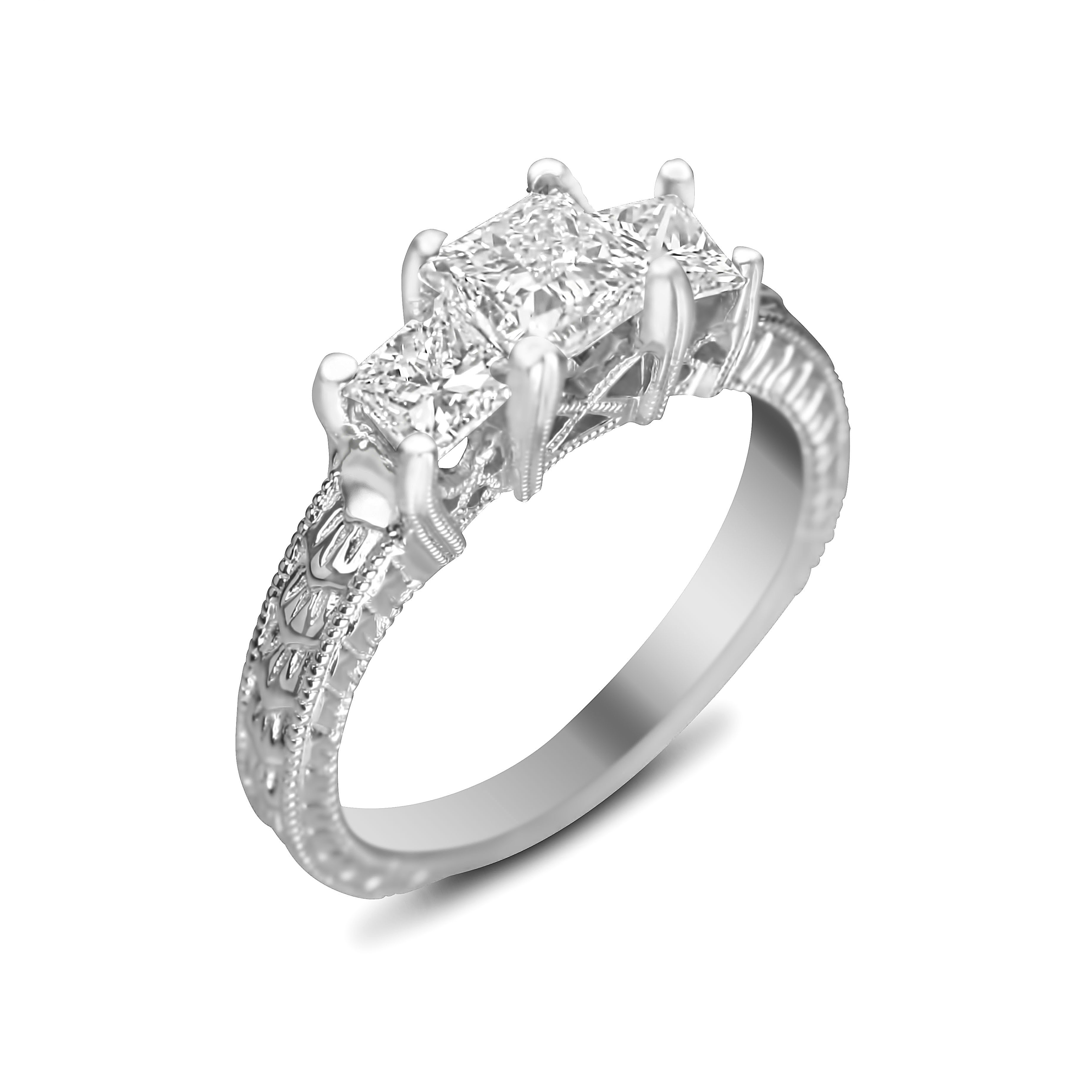 antique hand engraved engagement ring