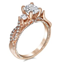 Three Stone Designer Style Rose gold engagement ring