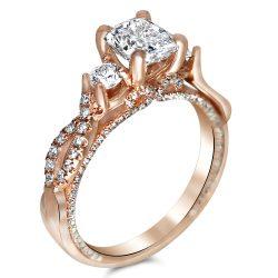 Three Stone Designer Style Rose gold engagement ring