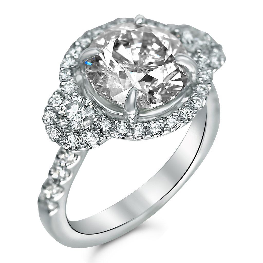 3cttw Round Halo Three Stone Designer Engagement Ring