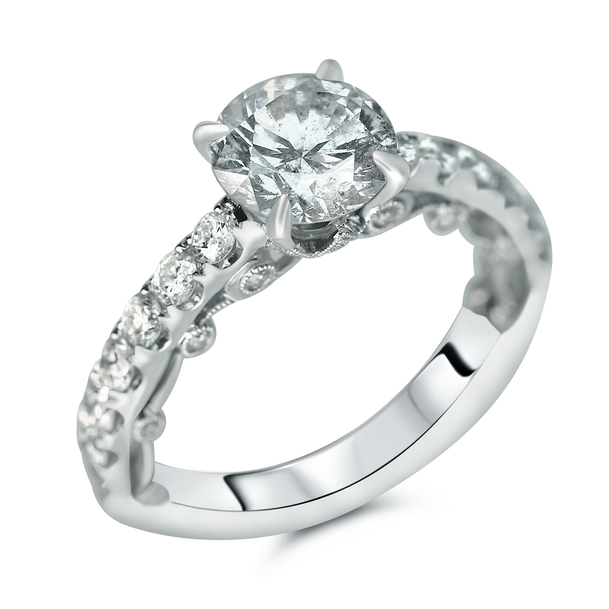 1 3/4cttw WhaleTail Set Designer Engagement Ring With