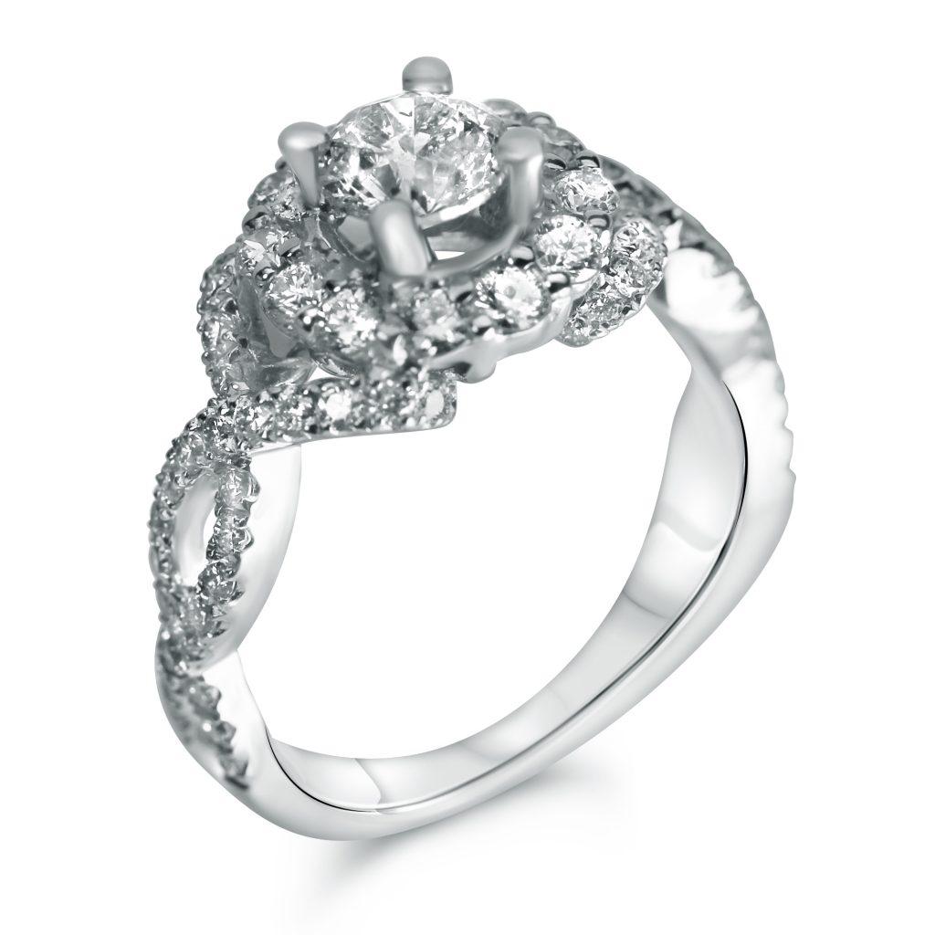 Round Halo Twist Shank Designer Engagement Ring