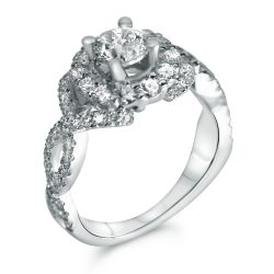 round halo twist shank designer engagement ring