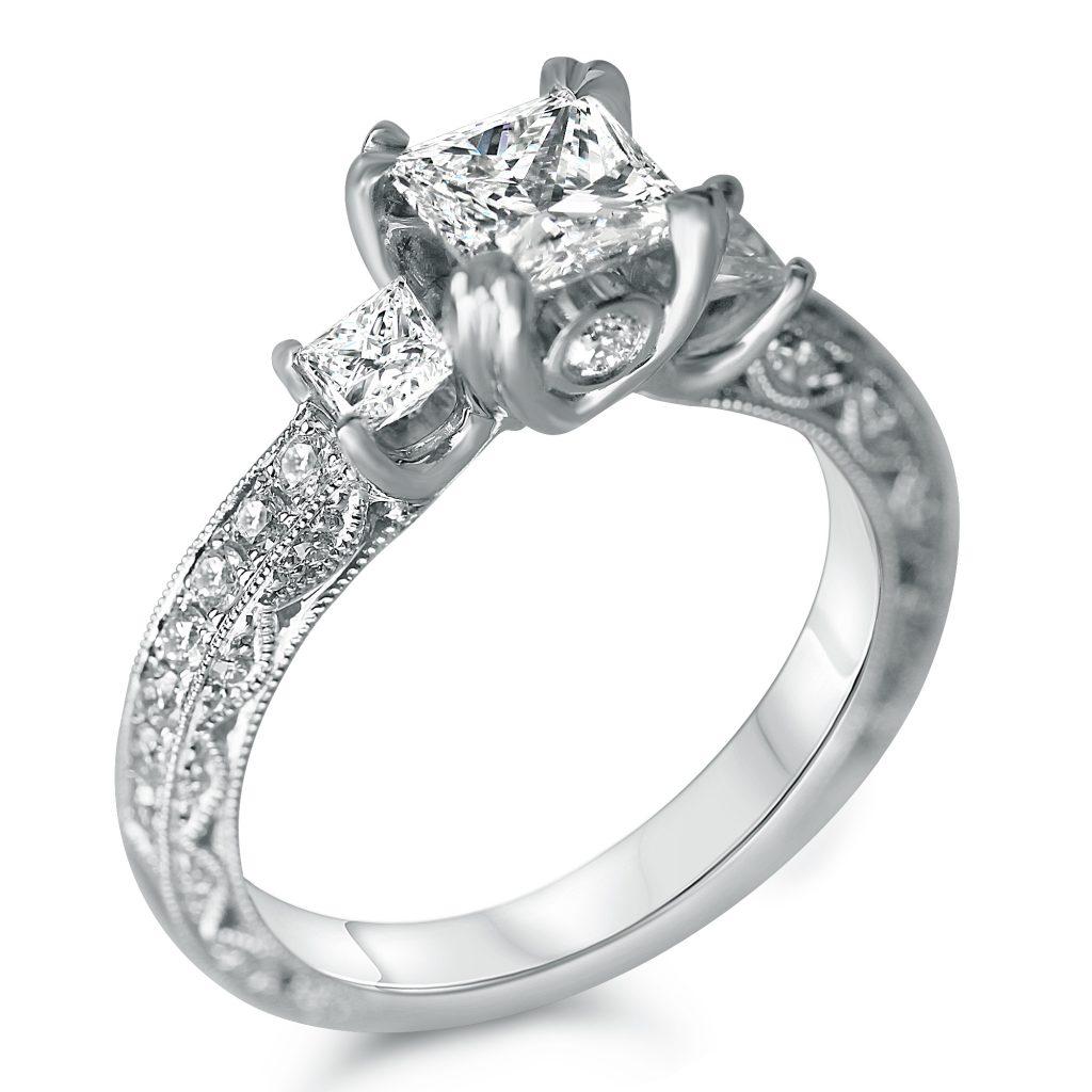 1 3 4cttw antique three stone princess cut engagement ring. Black Bedroom Furniture Sets. Home Design Ideas