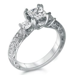 three stone antique designer engagement ring