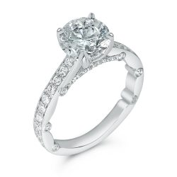 milligrain pave set round designer engagement ring