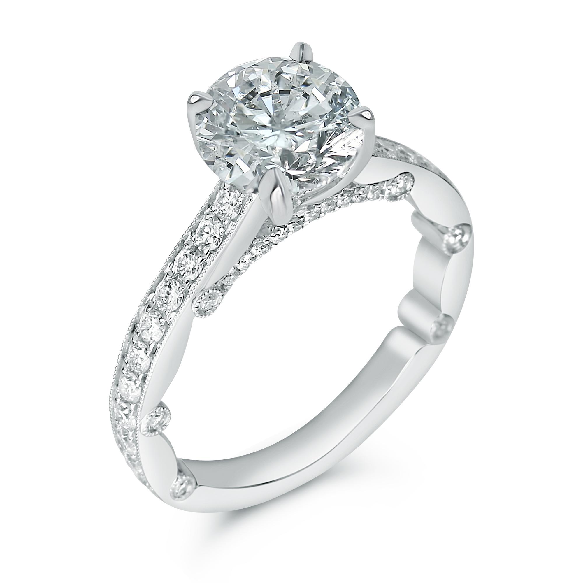 milligrain pave set round designer engagement ring