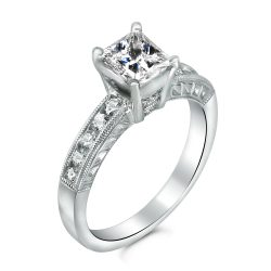 Princess channel set with milligrain engagement ring