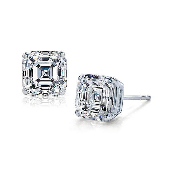 Asscher Cut Diamond Studs 1