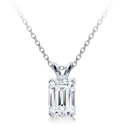 emerald cut diamond solitaire pendant in houston