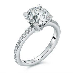 round micro-pave diamond engagement ring