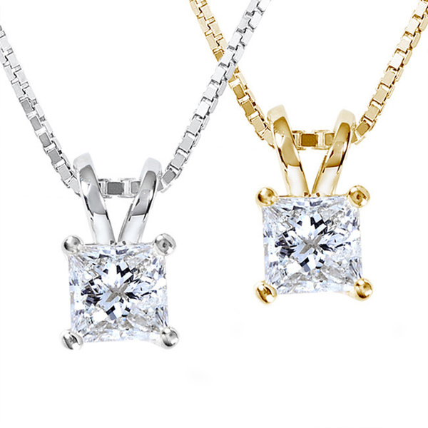 pendant white diamond and chain princess gold product cut