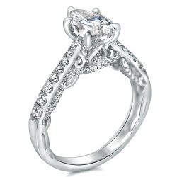 antique style filigree ring with pear
