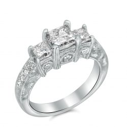 antique hand engraved three princess cut engagement ring