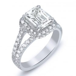 emerald cut halo with split shank