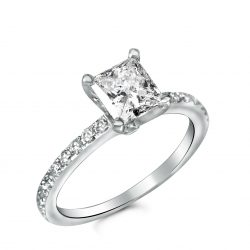 simple micro pave engagement ring with princess cut