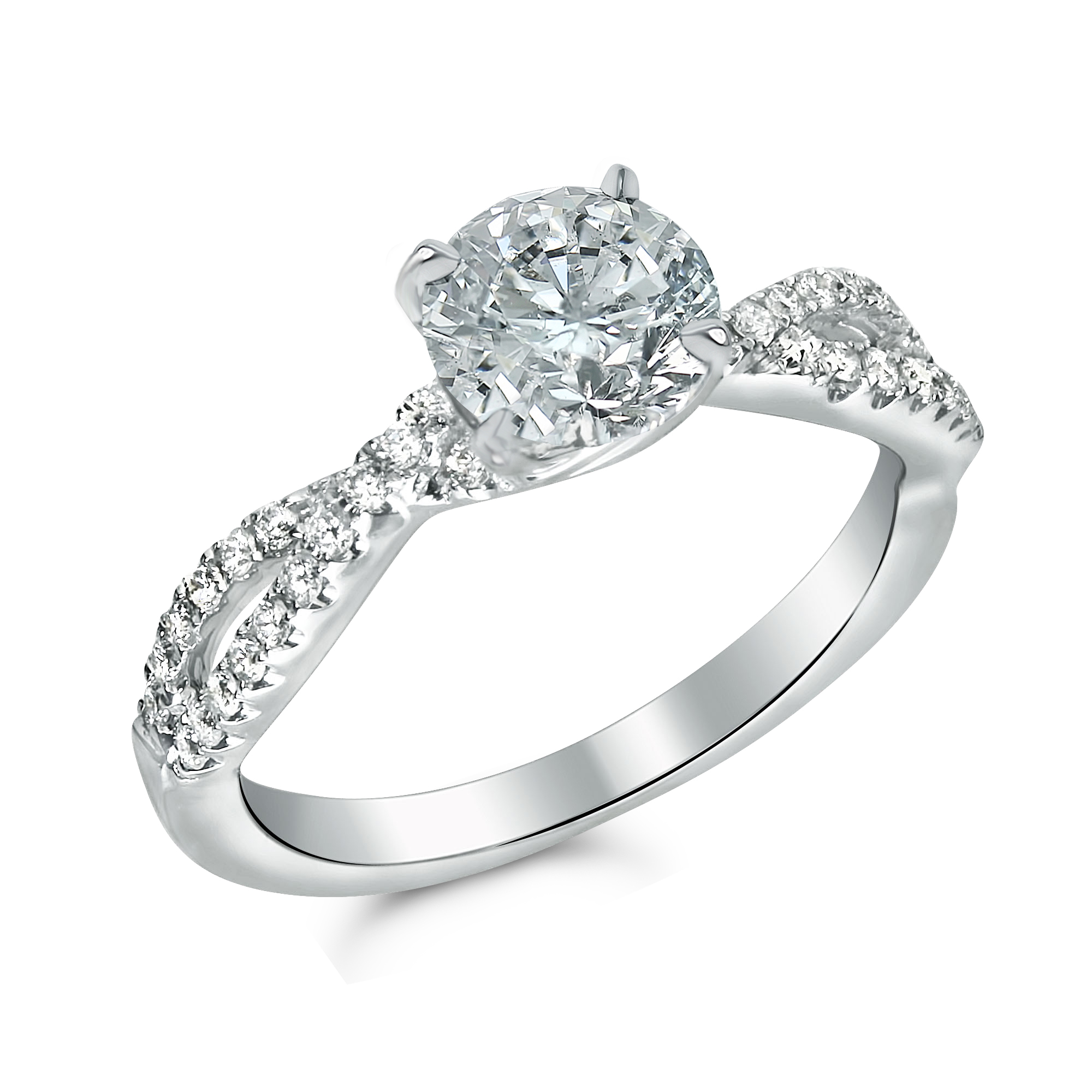 1 1/3cttw Twisted Band Diamond Engagement Ring