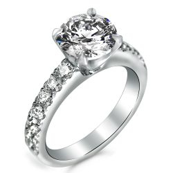 simple whale tail pave engagement ring
