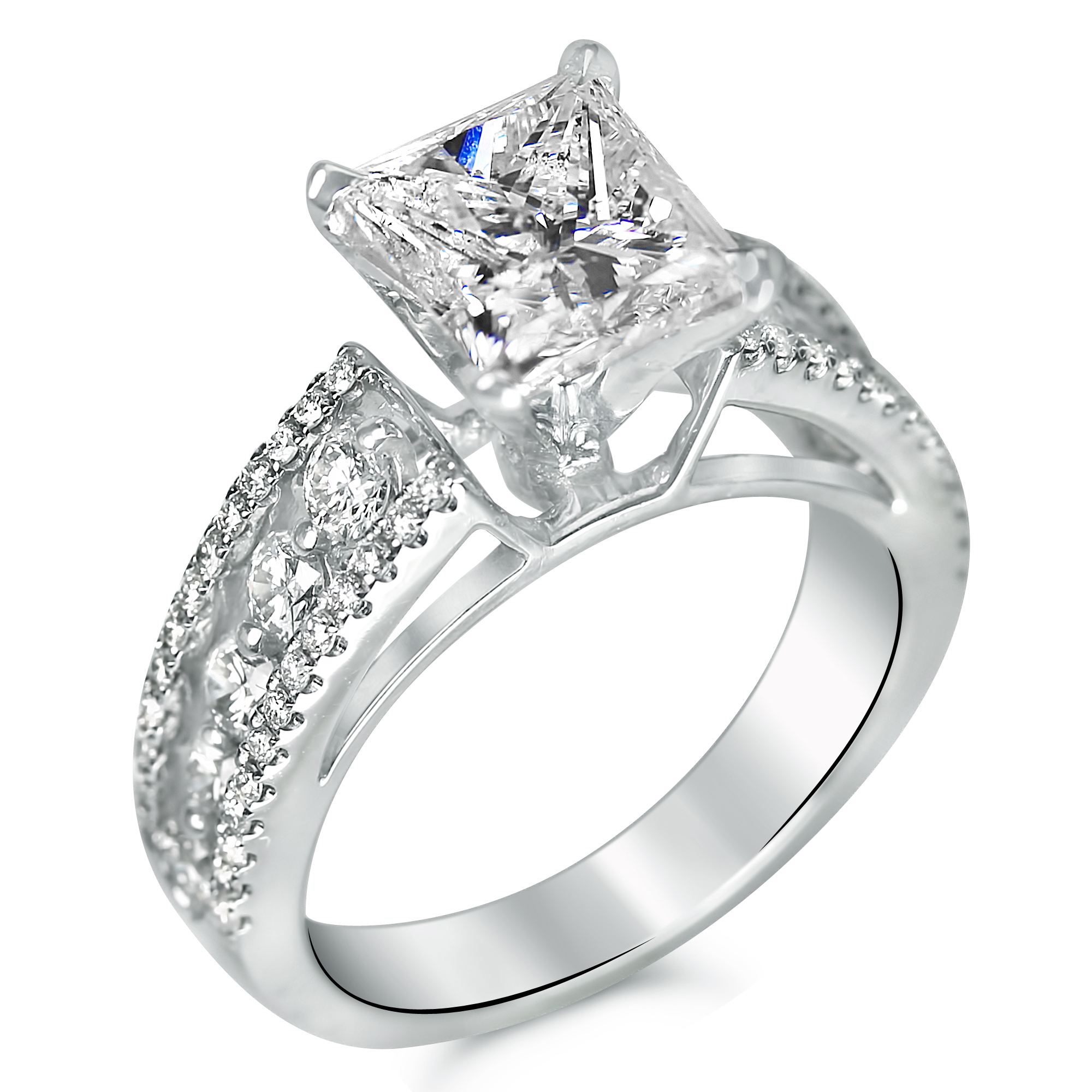 3 Cttw Large Shared Prong And Micro Pave Engagement Ring