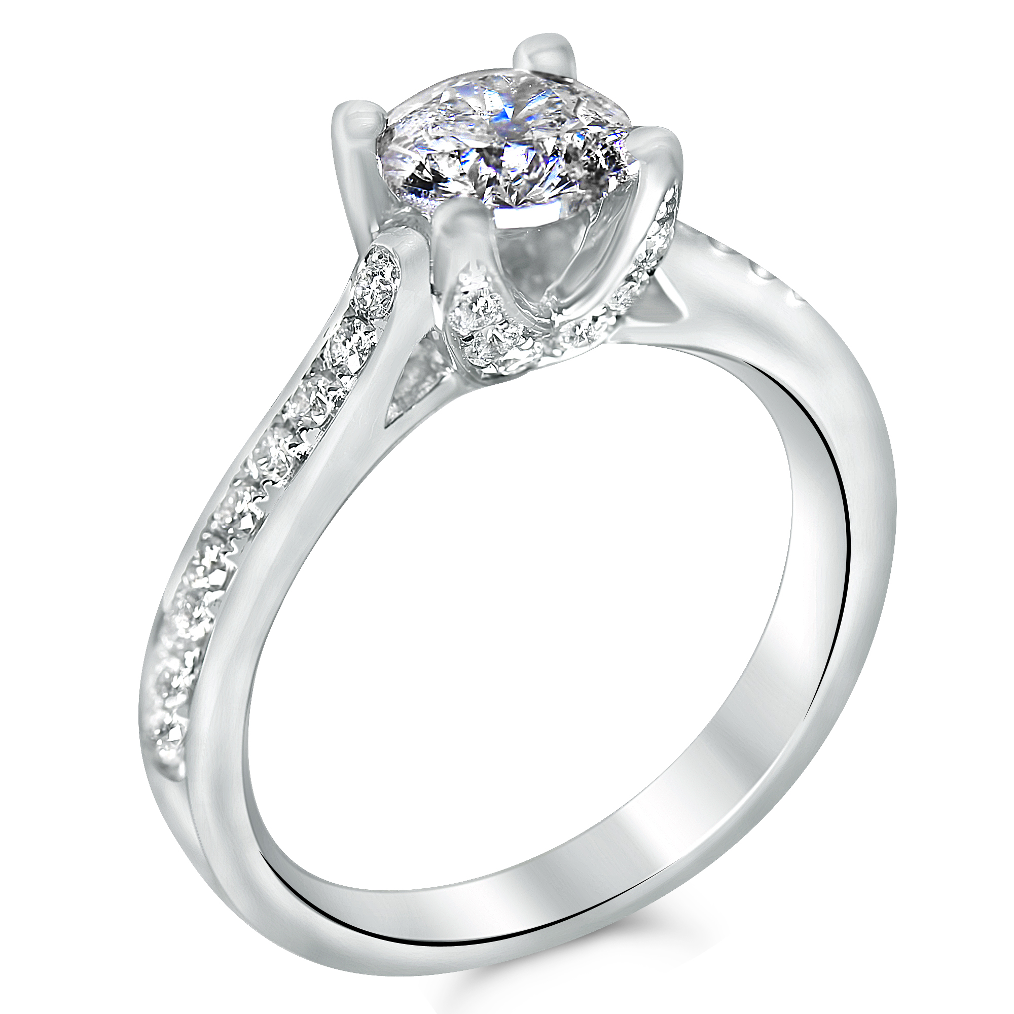 1 1/2cttw Pave Engagement Ring With Diamond Prongs