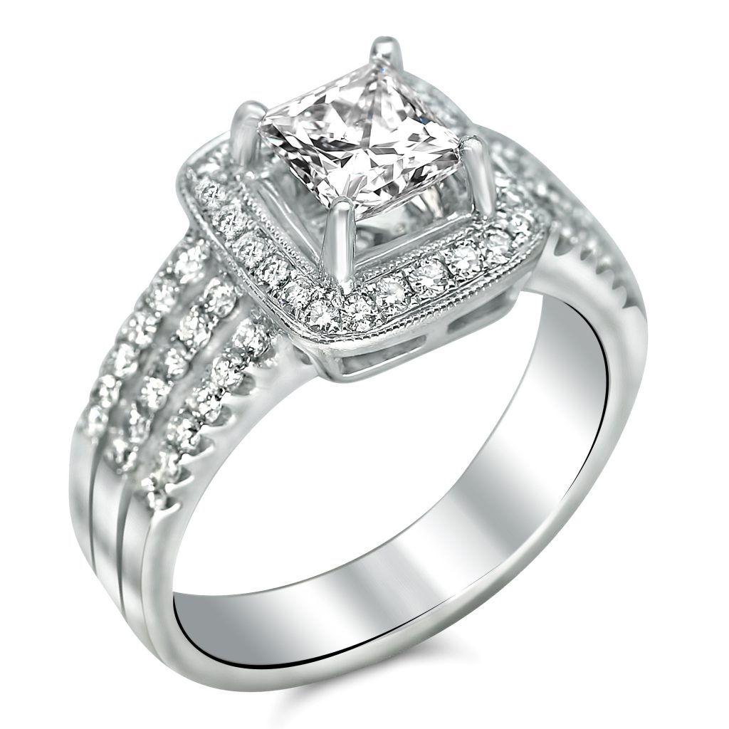 1 3 4cttw Triple Shank With Halo Princess Cut Engagement