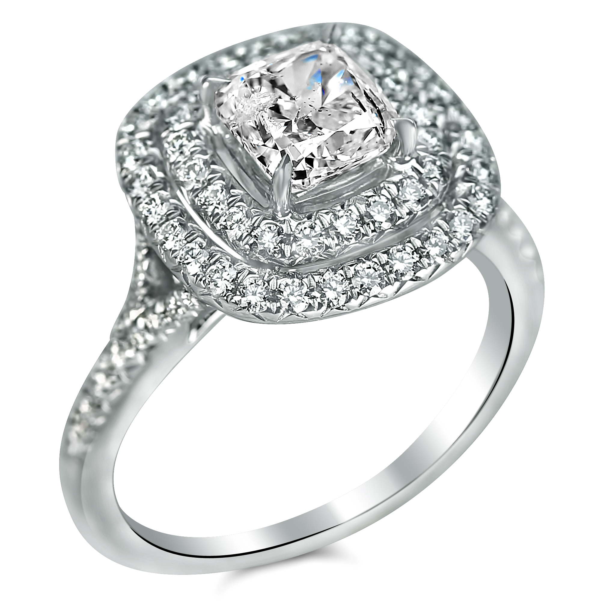 1 2 3 cttw halo split shank cushion cut engagement