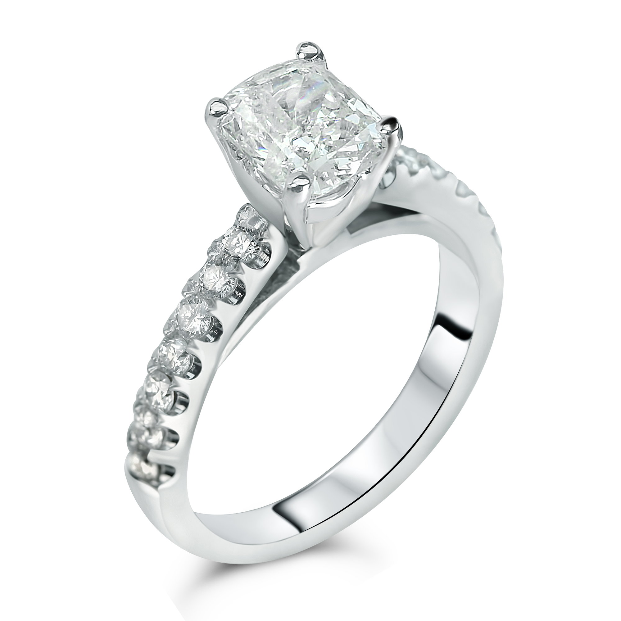 whale tail setting with cushion center diamond