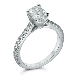 simple micro pave engagement ring with cushion