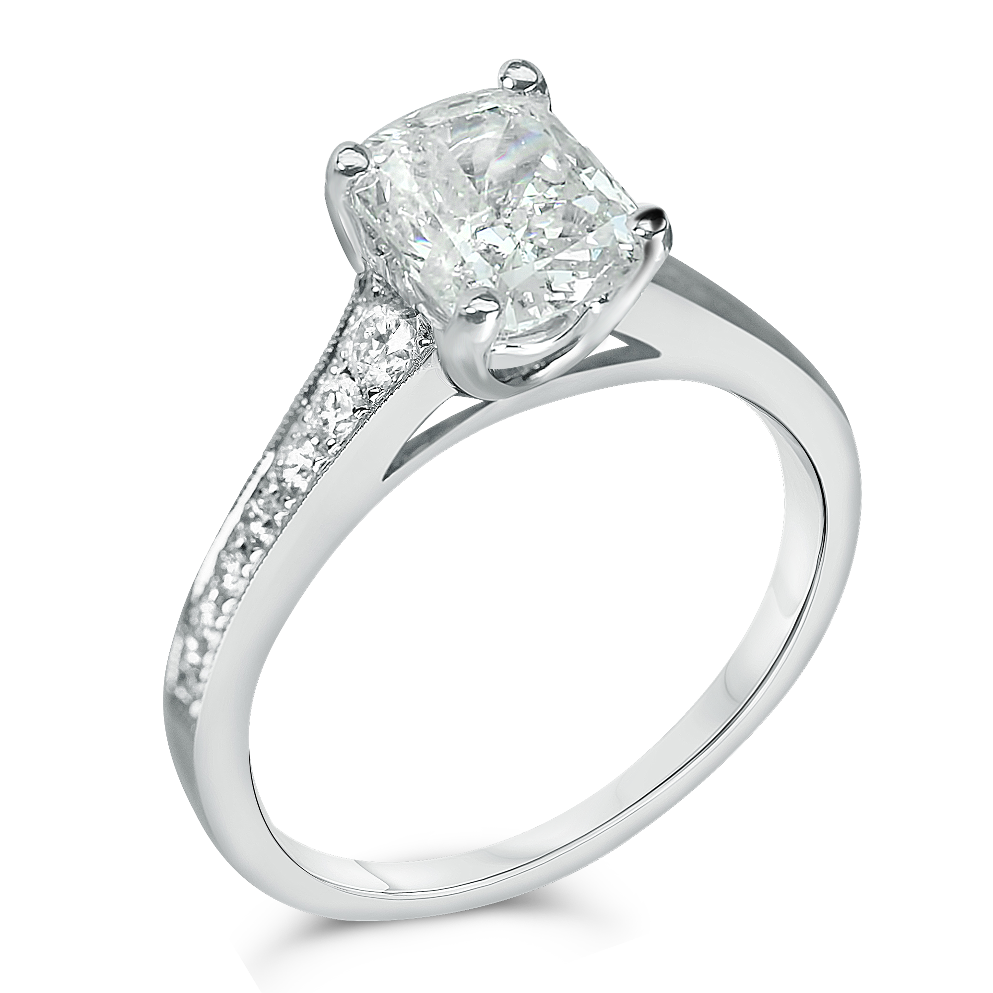 tapered pave ring with cushion center