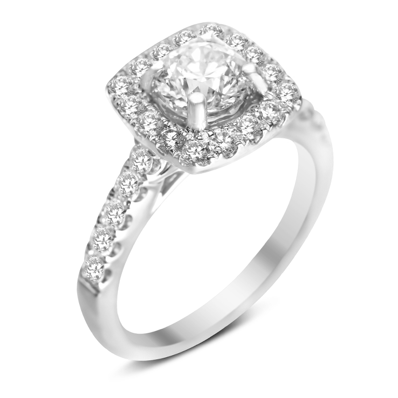 micro pave halo with antique style filigree