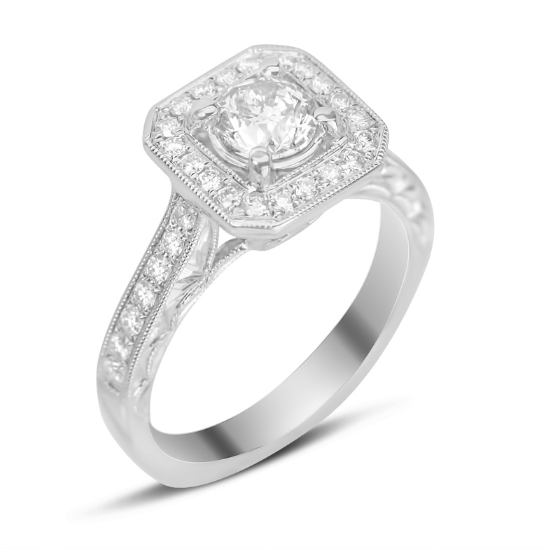 pave halo ring with antique style