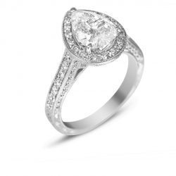pear shape halo with filigree