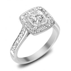 cushion cut pave halo in houston