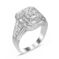 emerald cut with baguette halo