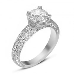 three sided pave engagement ring