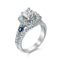 cushion halo engagement ring in houston