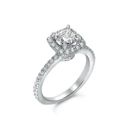 asscher halo engagement ring in houston