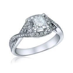 cushion halo engagement ring in houston