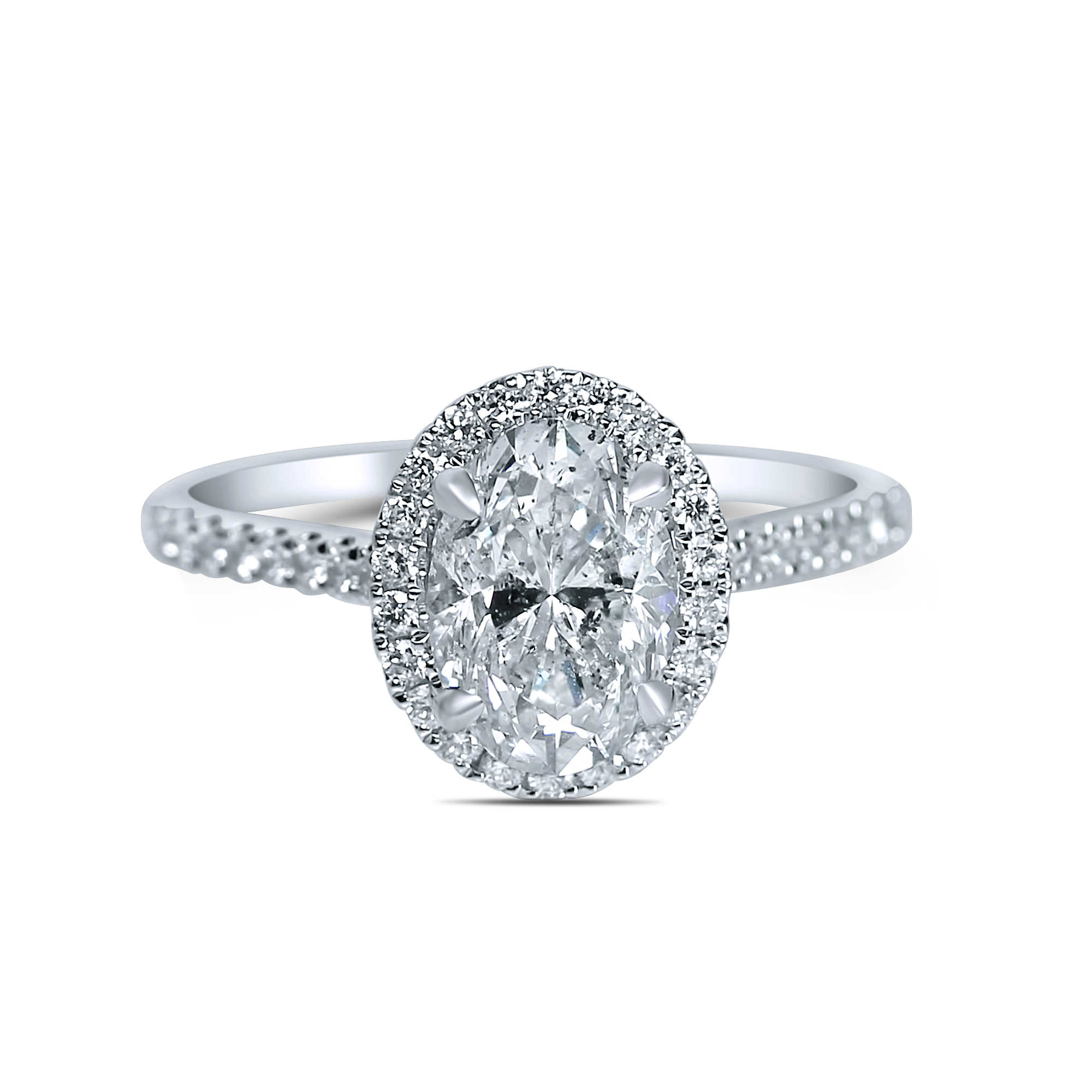 1 1/3cttw Oval Halo With Thin Diamond Band