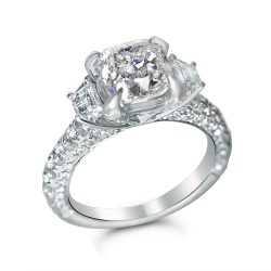 2 3/4cttw Cushion with Two Trapezoids and Three Sided Diamond Setting