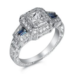 Antique Princess Halo With Blue Shire Sides Millgrain And Hand Engraved 4 395 00 Mirco Pave Designer Engagement Ring