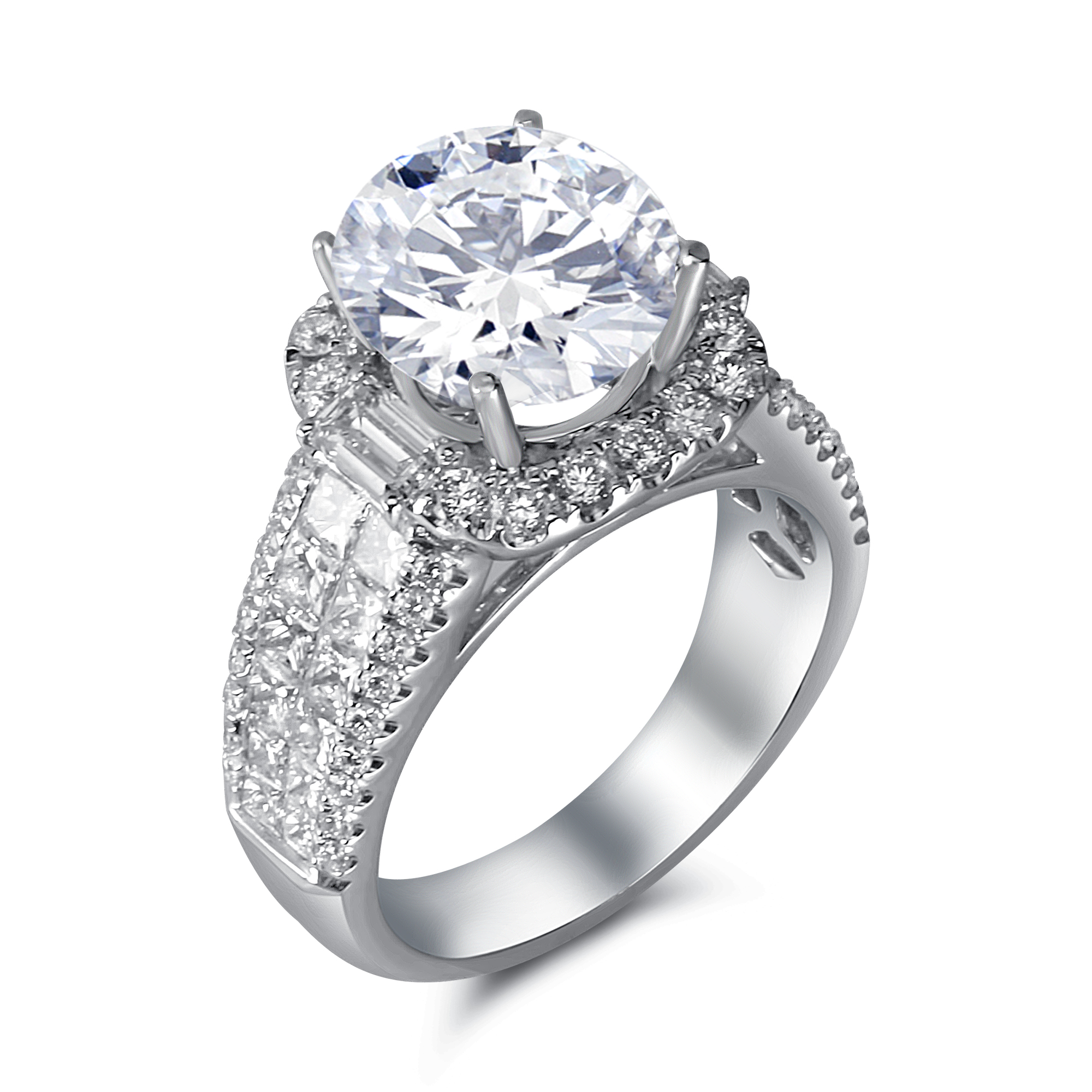 Large Cushion Halo With Princess Cut Centers And Small Round Diamonds