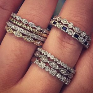 stackable diamond rings for anniversary