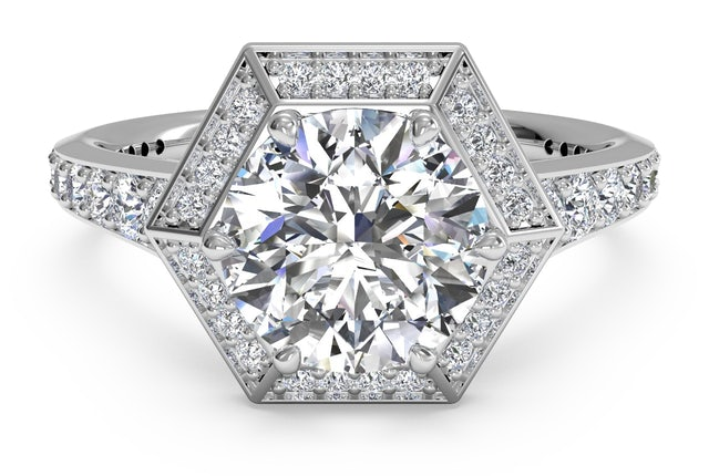 Hexagon Engagement Ring in Houston