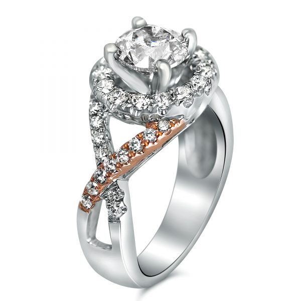 Two Tone Engagement Rings in Houston