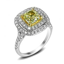double halo with yellow cushion center diamond